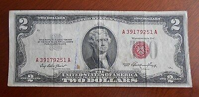 1953  $2.00 United States Two Dollar Bill Red Seal Note / Good