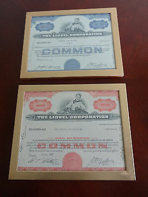 2 - 1962 The Lionel Corporation Stock Shares 100 And 30 Both Framed