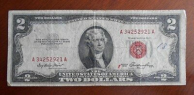 1953  $2.00 United States Two Dollar Bill Red Seal Note *** Good *