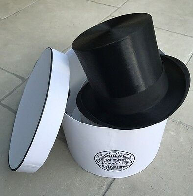 Rare Vintage Cyrille Black Silk Top Hat Size 7½  or 61cm with Lock & Co Box