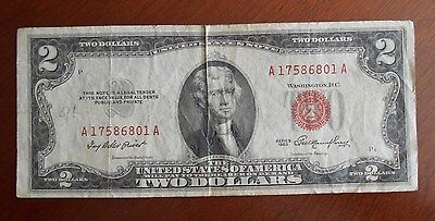 1953  $2.00 United States Two Dollar Bill Red Seal Note ****