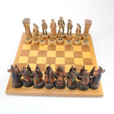 "Anri ""Far West"" Cowboy and Indians Chess Set and Lowe vintage board"