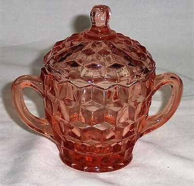 Indiana Glass Whitehall Pattern Pink Covered Sugar Bowl - Excellent Condition