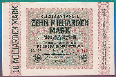 10 Milliarden Mark 1923 Ro 114c,Wz Ringe