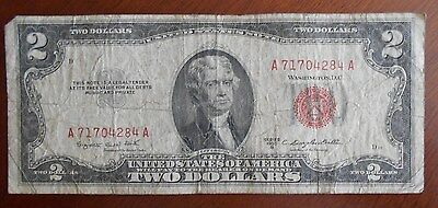 1953 B  $2.00 United States Two Dollar Bill Red Seal Note * Good **