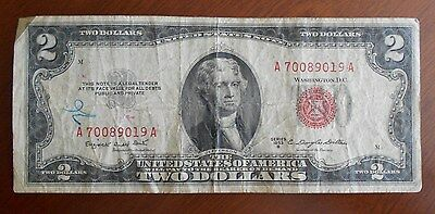 1953 B  $2.00 United States Two Dollar Bill Red Seal Note ** Good ***