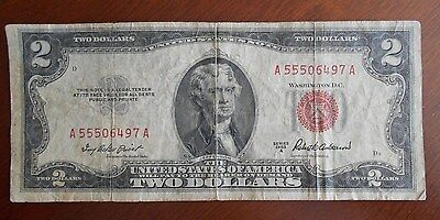 1953 A  $2.00 United States Two Dollar Bill Red Seal Note **** Good ***