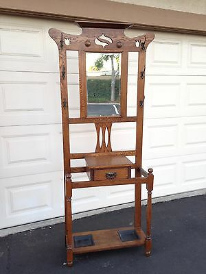 Antique Mission Style Oak Umbrella Stand Hall Rack Tree with tulip cut out