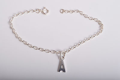 Sterling Silver Personalised Initial Charm Ankle Chain Bracelet Anklet 925