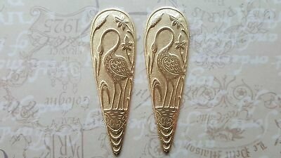 Large Raw Brass Crane Bird Plaque Stampings (2) - RAT6909