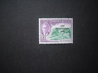 "DOMINICA 1951 3c ""New Constitution""  C of CA Missing from watermark SG.135a U/M"
