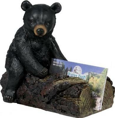 Business Card Holder Bear Decor Office Home Cabin Lodge Rustic Gift Wildlife New