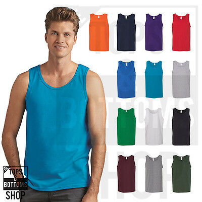 Gildan Mens Heavy Cotton Tank Top T-Shirt Plain Tee Muscle Gym Sleeveless - 5200