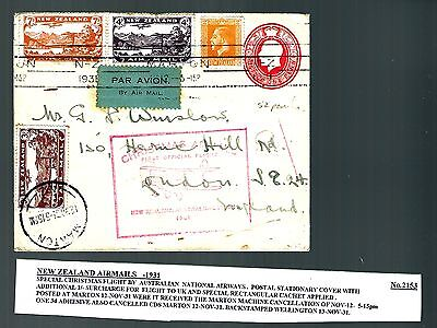 1931 New Zealand Chritmas flight air mail cover special cache by boat (x062)