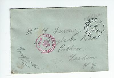 1914 Army post office censor cover  (4265)