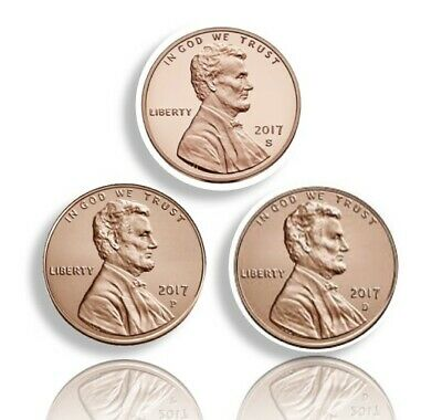 2017 P,D,S Lincoln Shield Cents All 3