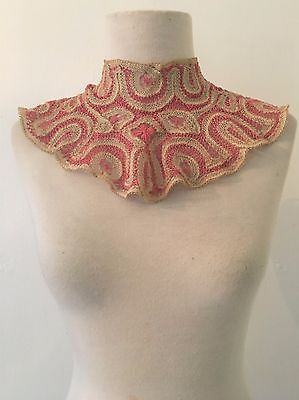 Antique 1915 Battenburg Lace High Neck Collar | Ivory and Pink Lace Collar