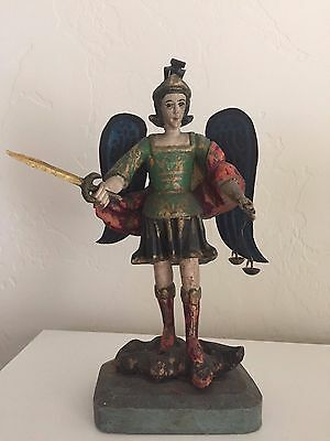 St. Michael Wooden Archangel Bultos Santos Carving with metal blue wings, sword