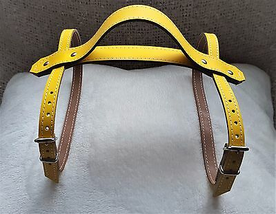 Mustard Yellow leather Vintage picnic blanket strap with carry handle