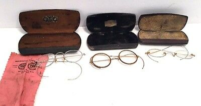 3 Pairs Lot Antique Wire Rim Eye Glasses Round Steampunk Gold Silver Florida