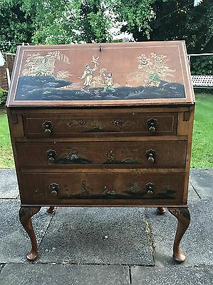 Vintage Bureau Writing Desk Oriental Design