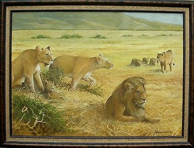 Oil Painting On Board,' Wild Life ' Lion Protecting His Family, Signed 1998.
