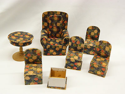6 Vintage Paper Cardboard Dollhouse Furniture Chair Table Candy Containers