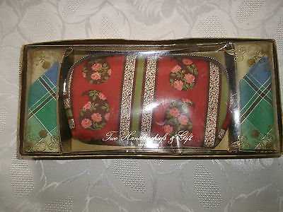 Ladies Vintage Make-Up Bag & 2 Hankerchiefs (Boxed)  100% Cotton