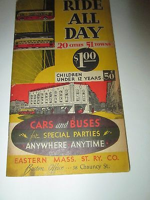 Vintage Eastern Massachusetts Street Railway RIDE ALL DAY for $1 Booklet & Map