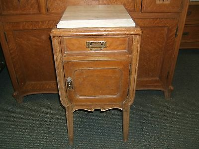 Antique French ART NOVEAU COMMODE marble top & lined  nightstand