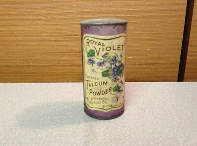Antique Talcum Powder Tin Litho Can, Royal Violet Borated, Pittsburgh Pure Food