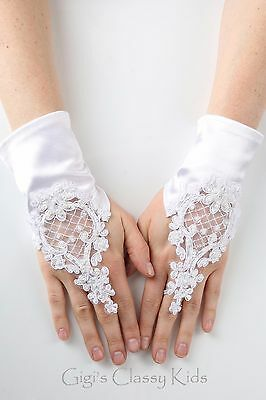 Kids Girls Lace Satin Fingerless White Gloves First Communion Wedding Pageant 2