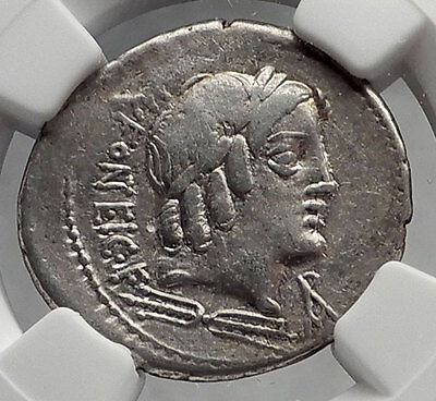 Roman Republic 85BC Rome Ancient Silver Coin VEJOVIS & GENIUS on GOAT NGC i61906