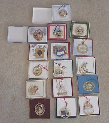 Lot Of 16 The White House Historical Assoc. Christmas Ornaments 1984 1992 2006!