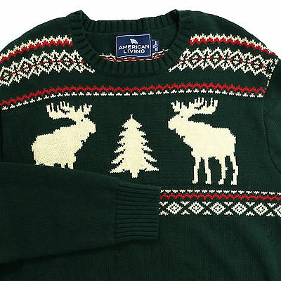 Holiday Knit Sweater Mens Size XL Moose Tree American Living Pullover Green Ugly