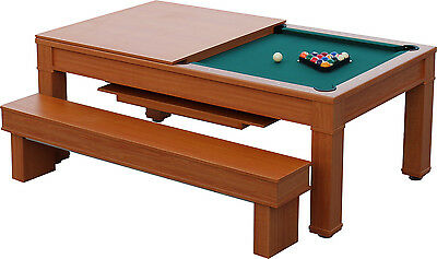 "7'x3'6"" Dining Pool Table with Bench Seats and Free Accessories"