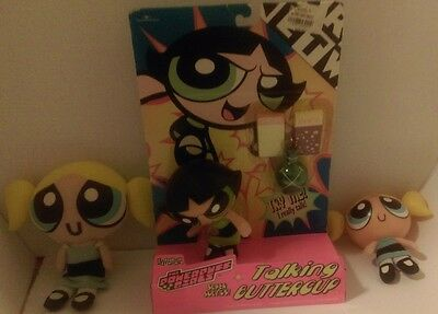 "1999 5"" Talking PPG Powerpuff Girls BUTTERCUP doll in Box plus 2 bubbles dolls"