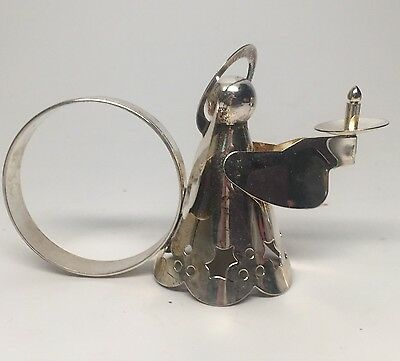 Vintage Set Of 4 Silver plated Angel Figural Napkin Rings Christmas Holiday