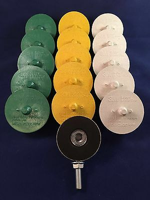 3M Scotch-Brite Roloc 50,80 and 120 Grit Bristle Disc  Green,Yellow,White..Qty15