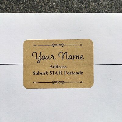 Personalised Return Address Labels Stickers | Rounded Rectangle | Kraft | AD224