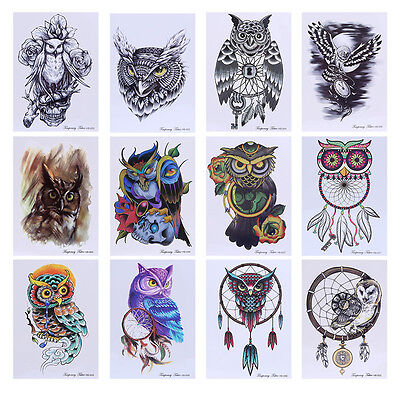 Colorful Drawing Temporary Tattoo Decal Owl Body Art Waterproof Stickers Unisex