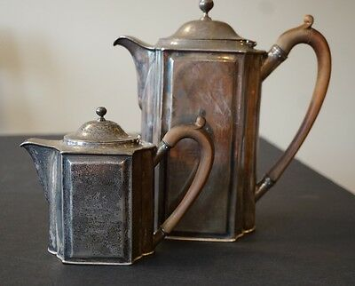 Paul Storr London 1796 Antique Sterling Silver Teapot & Creamer, Wooden Handles