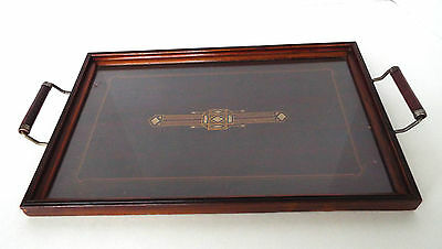 "Vintage Glass Covered Wood Serving Tray Art Deco Prairie Mission Style 11"" x 17"""