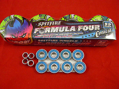 4 x SPITFIRE GREEN/BLUE SWIRL AFTERBURNERS F4 54mm -SKATEBOARD WHEELS + BEARINGS