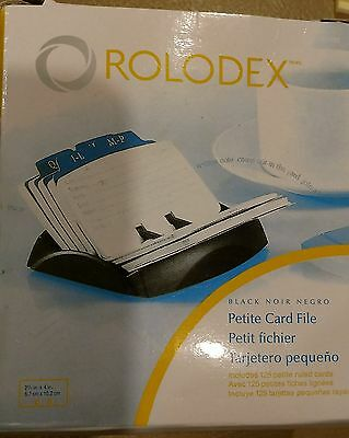 NEW in BOX!  Rolodex Petite Covered Tray Card File 2.25 x 4 Inch Cards 9 Guides