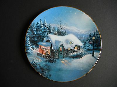 "Thomas KINKADE 8.5"" Plate ""SILENT NIGHT"" Free Ship YULETIDE MEMORIES Limited"