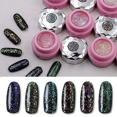 6 colors soak off LED UV gel nail polish varnish set glitter nail art sequin gel