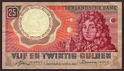 "Netherlands ""Holland"" (1955) Very Scarce 25-Gulden {SINGLE} VF+/XF Note: P87 [3]"
