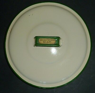 VINTAGE JUDGE BRAND cream & green ENAMEL 18cm canister LID only REPLACEMENT PART