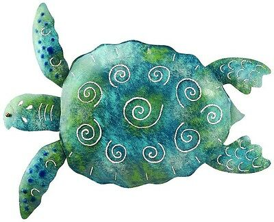 SEA TURTLE WALL Art Hand Painted Metal Sculpture 12x33 Tropical ...
